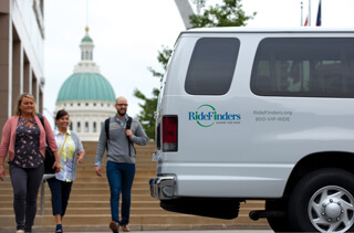 RideFinders vanpools help commuters share a ride to and from work in a RideFinders van for a low monthly fare.